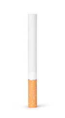 lit cigarette on a white background