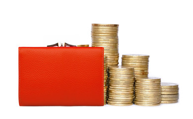 Red purse and coins isolated on white background