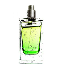 men's perfume in beautiful bottle in water drops isolated on whi