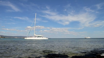 White catamaran on the sea