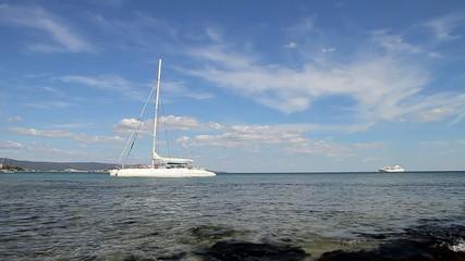 White catamaran on the sea