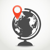 Globe with the point of destination