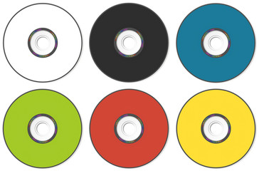 CD or DVD compact disc of different colors on a white background