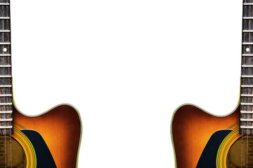 Acoustic guitar with white space background