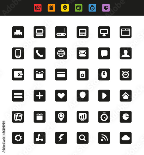 Simple web navigation pictograms collection