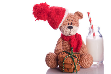 teddy bear with milk and cookies hat and scarf