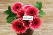 Get well card with dark pink gerbera daisies