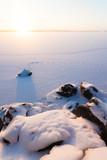 Serene winter morning view to frozen lake poster
