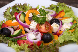 Fresh vegetable greek salad, close up