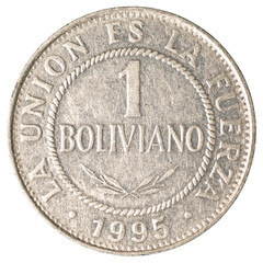 1 bolivian boliviano coin isolated on white background