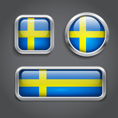 Sweden flag glass buttons