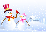 Snowmen ,Christmas  bird & winter landscape
