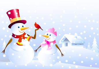 Snowmen ,Christmas  bird & winter landscape