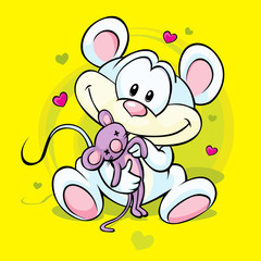 cute mouse holding doll