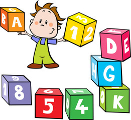 illustration of little boy hold colorful cubes with letter