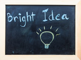 """Bright Idea"" words on Black Board."
