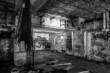 Leinwanddruck Bild - Dark abandoned scary factory room