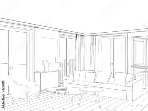 Modern interior drawing