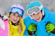 Skiing, winter sports - portrait of young skiers