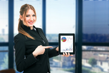 Businesswoman showing a financial report