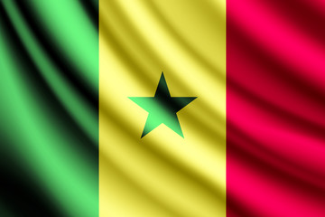 Waving flag of Senegal, vector