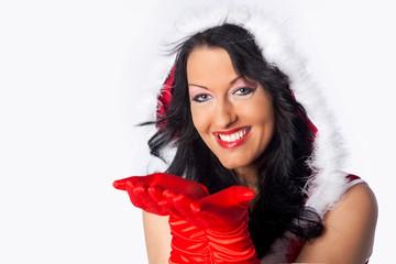 Schöne lachende Weihnachtsfrau