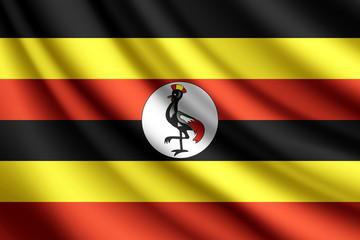 Waving flag of Uganda, vector