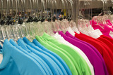 Retail Store Clothing Rack Plastic Hangers Fashion Apparel poster