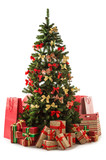 Beautiful christmas tree with gift boxes and shopping bags