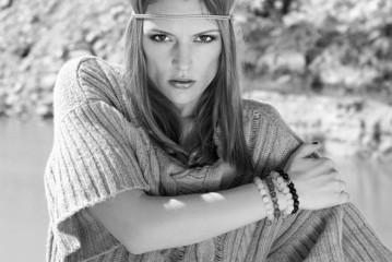 Beautiful stylish girl in the mountains