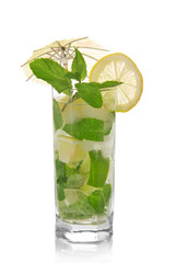 Mojito, umbrella and lemon, spearmint isolated on white
