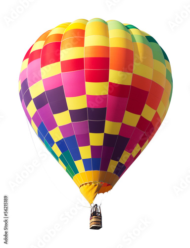 Plexiglas Ballon Colorful Hot Air Balloon Isolated on White Background