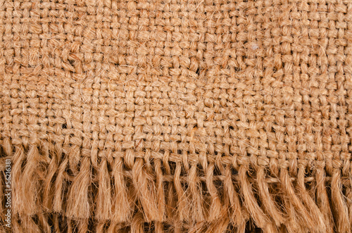 Piece of burlap with a fringe