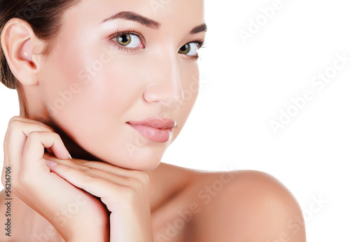 Beautiful asian woman against white background