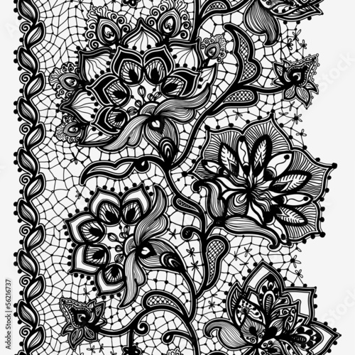 Foto op Plexiglas Kunstmatig Abstract lace ribbon seamless pattern with elements flowers