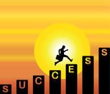 businessman running success steps evening sky sun background