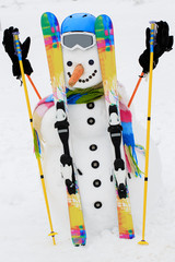 Winter, snow, sun and fun,  Christmas - happy snowman and snowy