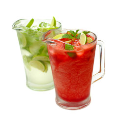 Mojito with lime, mint and strawberries