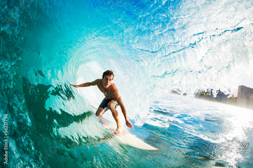 Fotobehang Persoonlijk Surfer on Blue Ocean Wave in the Tube Getting Barreled