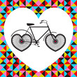 Vector illustration with bicycle in heart, abstract