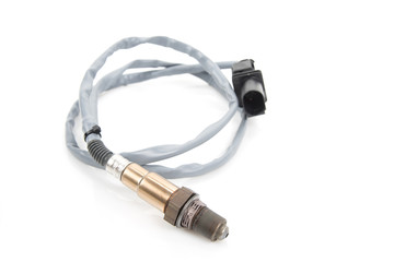 Oxygen sensor (lambda sensor) close-up. Isolate on white.