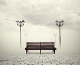 bench and street lamps