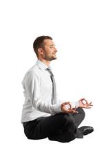 happy businessman practicing yoga