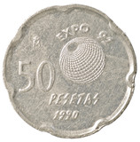 50 spanish pesetas coin