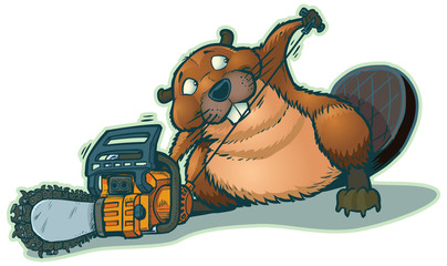 Cute Beaver Strarting Chainsaw Vector Cartoon