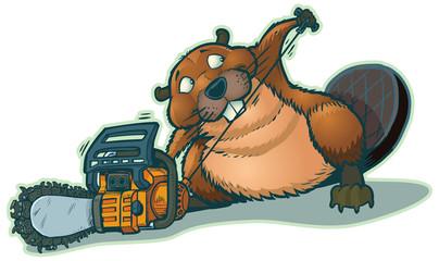 Cute Beaver Strarting Chainsaw Vector Cartoon
