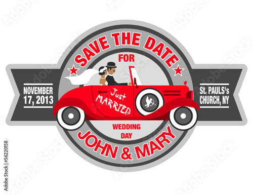 wedding invitation with bride and groom in retro car 2