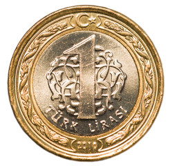 one Turkish lira coin