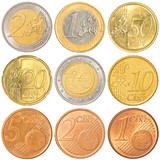 euro coins collection set isolated on white background