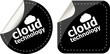 Cloud technology icon, label stickers set